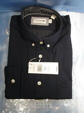 LACOSTE Men's Long Sleeve Button Down Navy Blue/White Regular Fit - 42/L