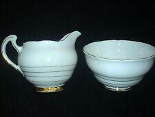Royal Vale  White with Thin Gold Bands Jug + Sugar Bowl  c1945-48