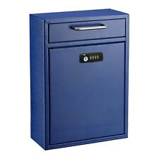 AdirOffice Blue 16 x 11 in Drop Box Wall Mounted Mail Box W/Key and Combination