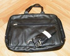 Totefolio Quill Unisex Black Leather Multi-Pocket Laptop Bag With Shoulder Strap