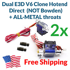 DUAL E3D V6 J-head Direct Hotend Kit + 2x All Metal Heatbreak Throat 12V 1.75mm