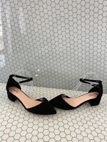 ALDO Black Suede Block Heel Pointy Toe Ankle Strap Heels Women's Size 10