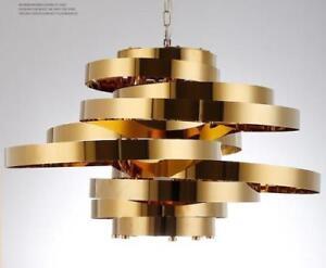 LED Gold Metal Rings Chandelier Ceiling Light Dining room Bedroom Pendant Lamp