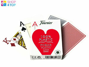 FOURNIER 2800 100% PLASTIC CASINO POKER PLAYING CARDS DECK JUMBO INDEX RED NEW