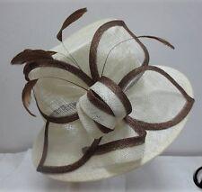 Ladies Ivory & Brown Narrow Brim Hat,Races,Wedding,Equine,Shows,Melbourne Cup,