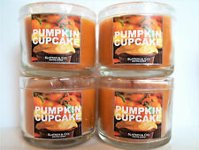 Bath Body Works Slatkin PUMPKIN CUPCAKE Mini candles, glass, 1.3 oz., NEW x 4
