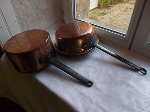 French antique 2 copper pots handmade iron handle copper rivets authentic