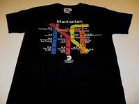 Manhattan Transit Authority Colorful MTA Route Map Black T-Shirt New! NWT MEDIUM