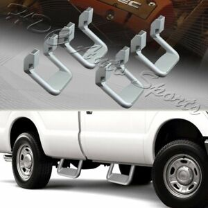 4 x Universal Truck Silver Texture Coated Die-Cast Aluminum Trunk Side Step Bar