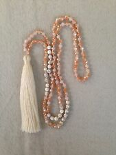 Long Multi Color Glass Crystal & Cream Stone Bead Tassel Necklace.Cream Tassel