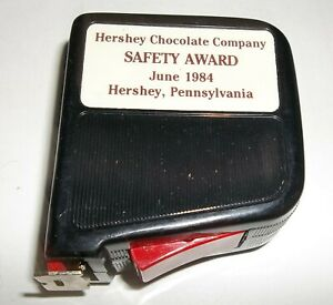 Vtg 12 Ft. Lock Rectractable Tape Measure Safety Award Hershey PA. Chocolate Co.