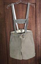 Mens/boys Genuine German LEDERHOSEN Suede Shorts with Suspender Straps Vintage