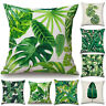 Tropical Plant Print Cushion Cover Green Leaves Pillow Case Home Sofa Decoration