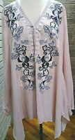 1X Andre by Unit Women's Plus Size Blouse Embroidery Flowers Blush and Navy  NWT