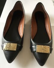 Banana Republic Black Leather Flats / Shoes - Gold Accents- Pointed Toe -Sz 7.5