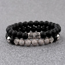 Men Luxury Silver Micro Pave CZ Ball Crown Bracelet Matte Agate Bead Set