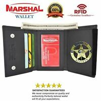 RFID Blocking Genuine Leather Trifold Round Badge Holder Wallet Black with Snap