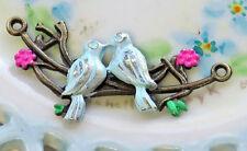 #832M Brass Bird Connector Birds Patina Blue Pendant Finding Art Nouveau Enamel