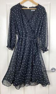 Jacqui E Wrap Dress Black Polka Dot Long Sleeve Tie Waist Size 18 (Cut Lining)