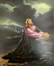 XL JESUS Christ LITHOGRAPH Roso 20x16 YESHUA Unframed PRAYING Poster GETHSEMANE