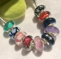 New Design silver big hole Murano Glass Beads fit European Charms Bracelet N