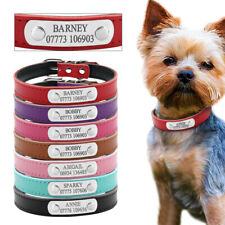 Custom Personalized Dog Collar PU Leather Engraved ID Nameplate Chihuahua XS/S/M