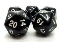 5 RPG 20-seitige Würfel Ikosaeder W20 D20 schwarz dice4friends Rollenspiel DnD