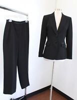 Tahari ASL Levine Womens Solid Black Pantsuit Suit Set Size 6 Career