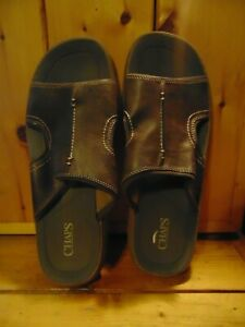 Chaps Seawall Dark Brown Leather Sandals Size 11 Mens