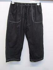 NWOT Fresh Produce Elastic Waist cropped Pants Black W/Draw Strings size M