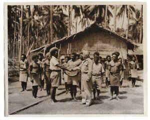 1944 Guadalcanal Natives Present Admiral Fitch Plaque for CVE-60 8x10 News Photo