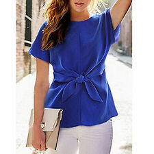 WOMEN'S SHORT SLEEVE CREWNECK TIE FRONT BOW CHIFFON BLOUSE TOPS SHIRT ENTICING