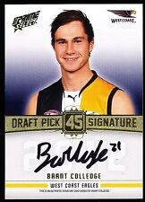2013 AFL Select Draft Pick Signature Brant Colledge WCE No. 088 of 280 DPS25