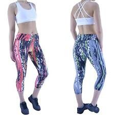 Womens Gym Leggings Yoga Ladies Active Running Fitness Exercise 3/4 Capri Pants