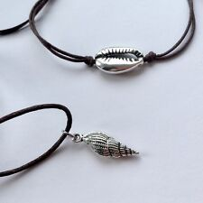 Karmastring necklace with shell pendant AND tie on cowrie bracelet brown silver
