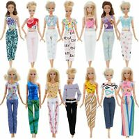 Set 10 Clothes And Accessories For Barbie Doll Party Dress Outfit Glasses Shoes