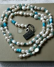 HONORA PEARL & BLUE TOPAZ , NEON APATITE LONG NECKLACE STERLING SILVER