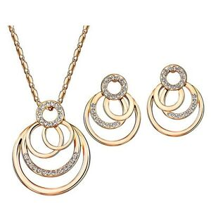 Rose Gold Plated Jewelry Set Made With Clear White Swarovski Crystal Rhinestones