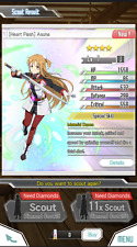 [Heart Flash]Asuna 4* Sword Art Online Memory Defrag FRESH ACCOUNT EU