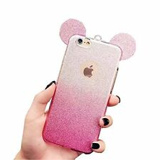 For iPhone 7 - Hard TPU Rubber Case Cover Pink Silver Shiny Glitter Mouse Ears