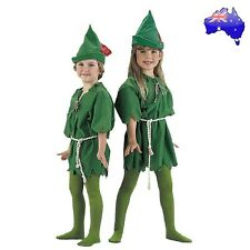 Kids Peter Pan Green Elf Robin Hood Halloween Fancy Dress Party Costume