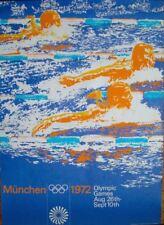 MUNICH 1972 OLYMPICS SWIMMING German A0 poster (33x47) OTL AICHER art