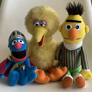 "3 x Sesame Street Plush 13"" Soft Toys - Big Bird, Grover & Ernie"