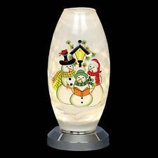 Premier Battery Light Up LED Glass Decoration - Snowman Vase
