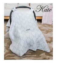 CARSEAT CANOPY ~ KATE ~ 100% Cotton Muslin Gray & White Damask Carseat Cover