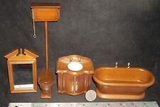 Mini Walnut Old Fashioned Bath Set 4 1:12 #T6305 Tub Toilet Sink Tub Bathroom