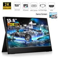 15.6 Inch 2K QHD IPS Display Gaming Monitor Same Screen TYPE-C HDMI Portable PC