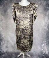DAY Birger Et Mikkelsen Woman Silk Shift Dress Ruffle Sleeves Size 40 / 12