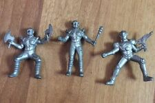 3 Vintage Medieval Rubber Army Men Action Figures Silver Collectable