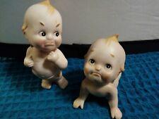 Set of 2 Vintage Ceramic Bisque Baby Kewpie Dolls